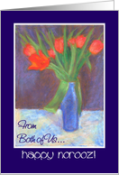 Red Tulips Norooz Greeting Card 'From Both of Us' card