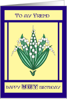 May Birthday Card for a Friend - Lilies of the Valley card