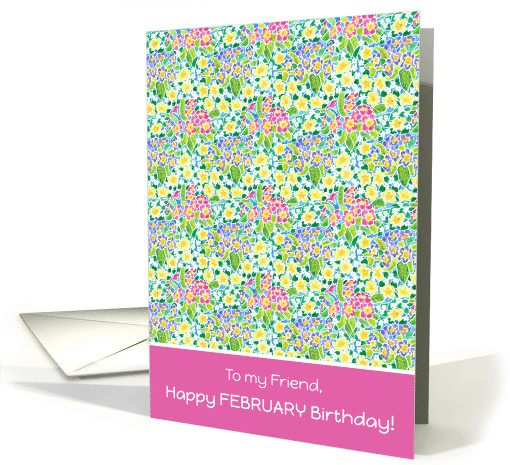 Primroses February Birthday Card for a Friend card (918472)
