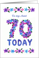 70th Birthday Card for an Aunt, Flowers card