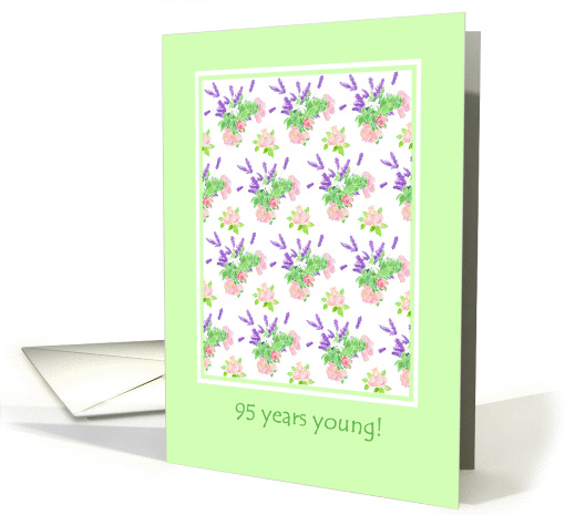 95th Birthday Card, Nostalgic Lavender and Roses card (973225)