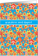 Norwegian Birthday Card, Ditsy Floral Pattern card