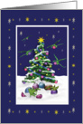 Baby Dragons and Christmas tree, green card