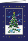 Baby Dragons and Christmas tree, blue card