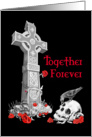 Celtic Cross, Raven, Roses and Skull Valentines Day Card on black card