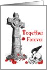 Celtic Cross, Raven, Roses and Skull Valentines Day Card on white card