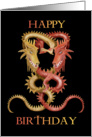 happy Birthday, Red and Gold Oriental Dragons card