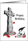 Celtic Cross and Skull Gothic Birthday card on white card