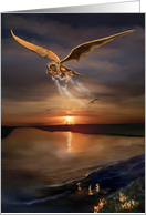 Golden Dragon flying over a bay at Sunset with flames on water card