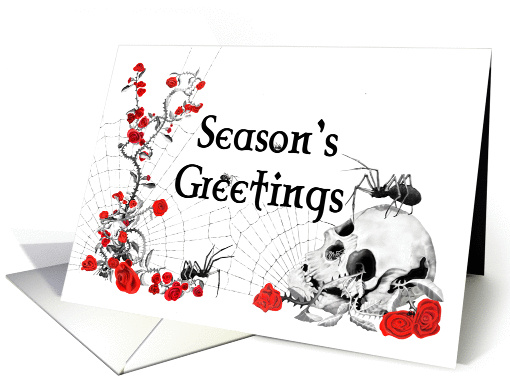 Gothic Spiders, Roses and Skull Seasonal Greeting Card on white card