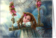 Beautiful young fairy butterfly on swing. card