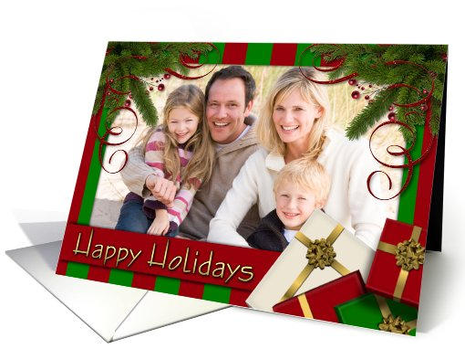 Christmas Stripe - Happy Holidays - Photo card (849099)
