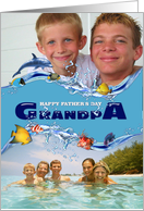 Happy Father's Day Grandpa Navy Under the Sea Photo Card