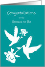 Gay Son Bridal Shower Two White Doves and Roses card