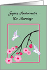 French Anniversary White Hummingbirds on Cherry Blossoms card