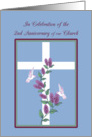 Church 2nd Anniversary Cross, Lilacs and White hummingbirds card