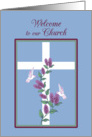 Church Welcome Cross, Lilacs and White hummingbirds card