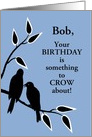Custom Name Birthday Humor Silhouetted Black Crows in Tree card
