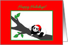 Christmas Panda Bear w Santa Hat and Glass of Wine card