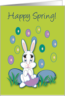 Happy Spring Raining Jelly Beans With White Bunny card