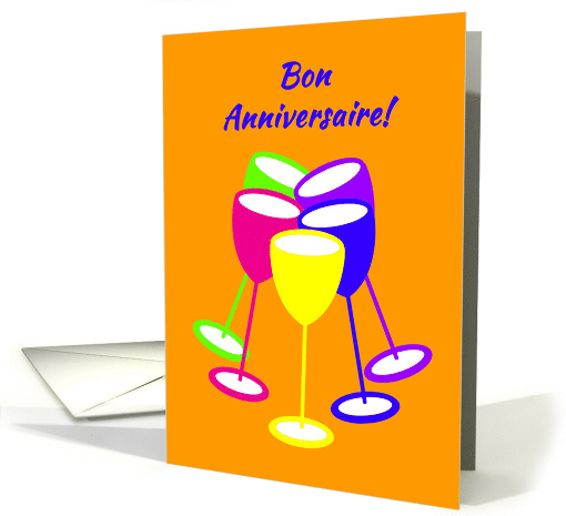 French Birthday Colourful Toasting Glasses card (1124434)