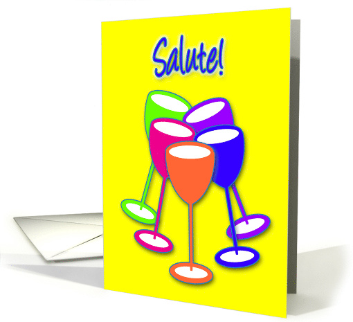 Congratulations Engagement Colourful Celebrating Toasting Glasses card