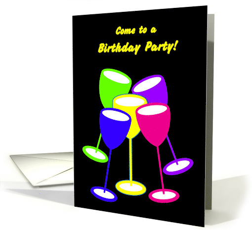 Birthday Invitation Party Colourful Celebrating Toasting Glasses card