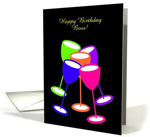 Business Birthday Custom Colourful Toasting Glasses card (1128730)