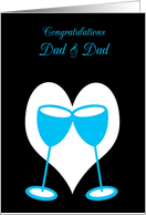 Congratulations Gay Dad Marriage Bright Blue Toasting Glasses card