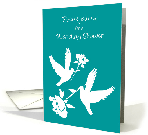 Invitation Lesbian Wedding Shower Two White Doves and Roses card