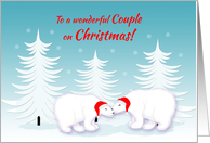 Gay Couple Christmas Humor Snuggling Polar Bears in Snow card