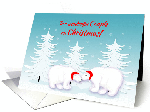 Lesbian Daughter Christmas Humor Snuggling Polar Bears in Snow card