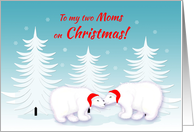 Lesbian Mom Christmas Humor Snuggling Polar Bears in Snow card