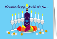 Invitation Thanksgivukkah Menorah Wine and Colorful Fruit card