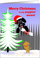 Christmas for Dog's Puppies' Mama Dog Santa with Bone card