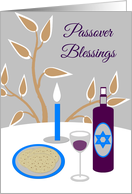 Passover Seder Table with Kosher Wine and Matzah card