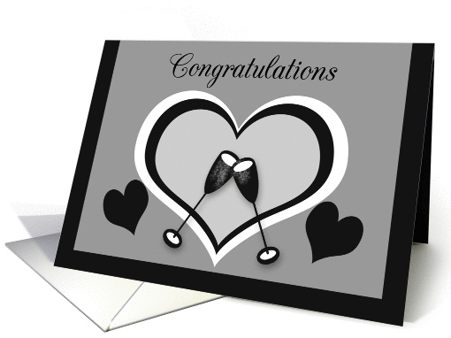 Wedding Congratulations Toasting Champagne Glasses with Hearts card
