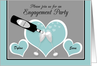 Invitation Engagement Party Custom Name Champagne and Hearts card