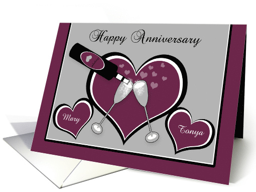Anniversary Lesbian custom name Bubbly Champagne Toast and Hearts card