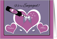 Announcement Engagement Gay Custom Champagne Toast and Hearts card