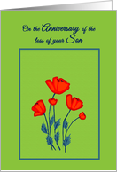 Remembrance Death Anniversary for Son Beautiful Red Poppy Flowers card