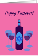Passover Wine Bottle and Four Glasses on Pink card