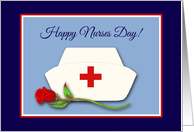 Nurses Day for Co-worker Nurses Cap with Red Rose Illustration card