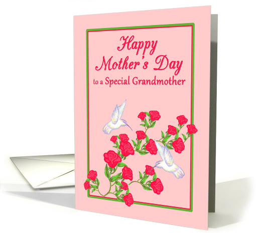 Mother's Day Grandmother White Hummingbirds and Pink Roses card