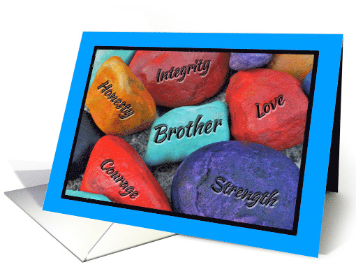 Brother Father's Day Colorful Painted Rocks card (1281570)