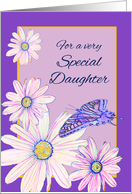 Congratulations Becoming Big Sister Stylistic Daisies and Butterfly card