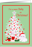Baby Christmas White Cat in Santa Hat with Tree and Gifts card