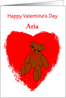 Custom Name Baby's Valentine's Day Bear in Red Heart card