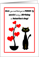 Mom Valentine's Day Birthday Cat with Red Heart Tree card
