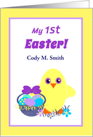 Baby First Easter Chick, Basket, Colored Eggs, Flowers card